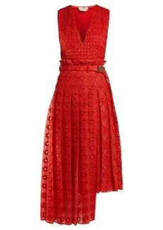 Fendi Belted floral-embroidered silk dress