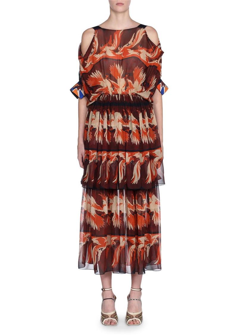 Fendi Bird-Print Cold-Shoulder Crewneck Dress
