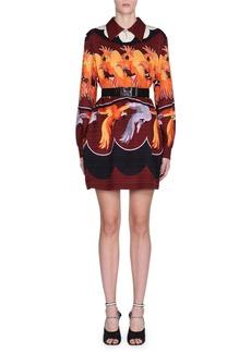 Fendi Bird-Print Crepe Cocktail Dress