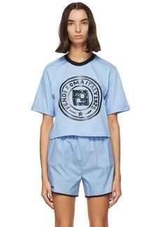 Fendi Blue Crop Logo T-Shirt