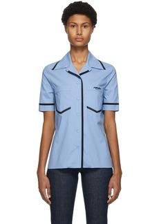 Fendi Blue Eco Popeline Short Sleeve Shirt