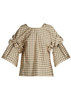 Fendi Bow-embellished check top