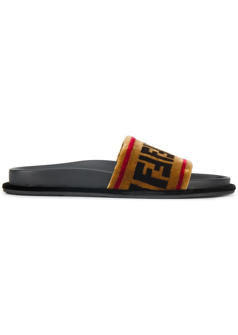 Fendi Brown logo velvet slides