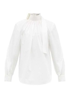 Fendi Buckled and mesh-panelled cotton-poplin shirt