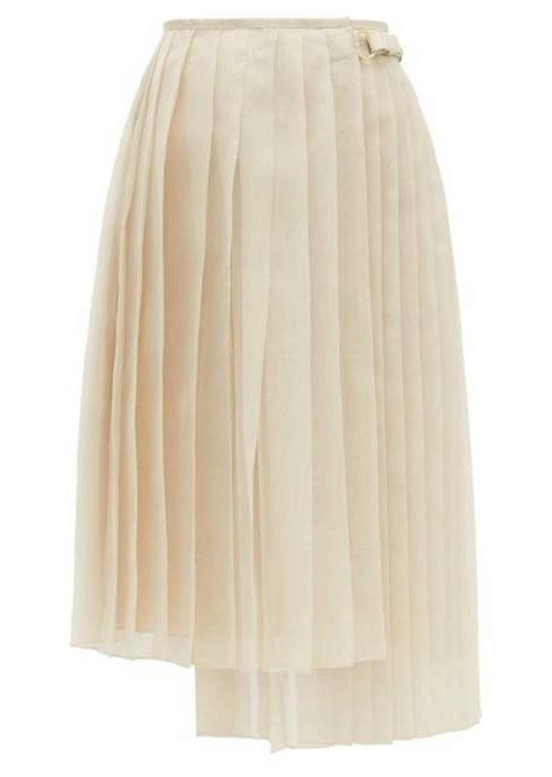 Fendi Buckled asymmetric pleated silk-organza skirt