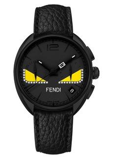 Fendi Bug Diamond Chronograph Leather Strap Watch, 40mm