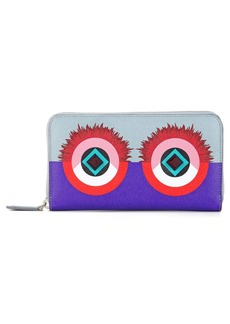 Fendi 'Bugs - Elite' Studded Zip Around Calfskin Leather Wallet