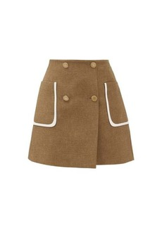 Fendi Buttoned wool-blend skirt