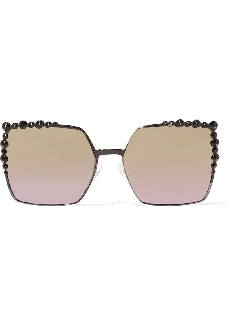 ce9a90de62 Fendi Fendi Can Eye embellished square-frame metal sunglasses ...