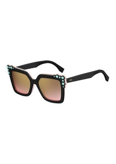 Fendi Can Eye Two-Tone Studded Square Sunglasses