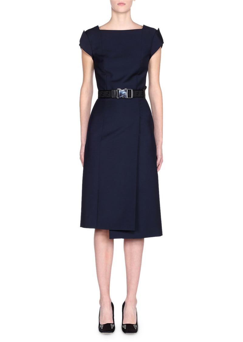 Fendi Cap-Sleeve Belted Foldover Pencil Dress