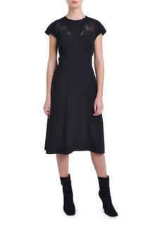 Fendi Cap-Sleeve Lace Trim Cocktail Dress