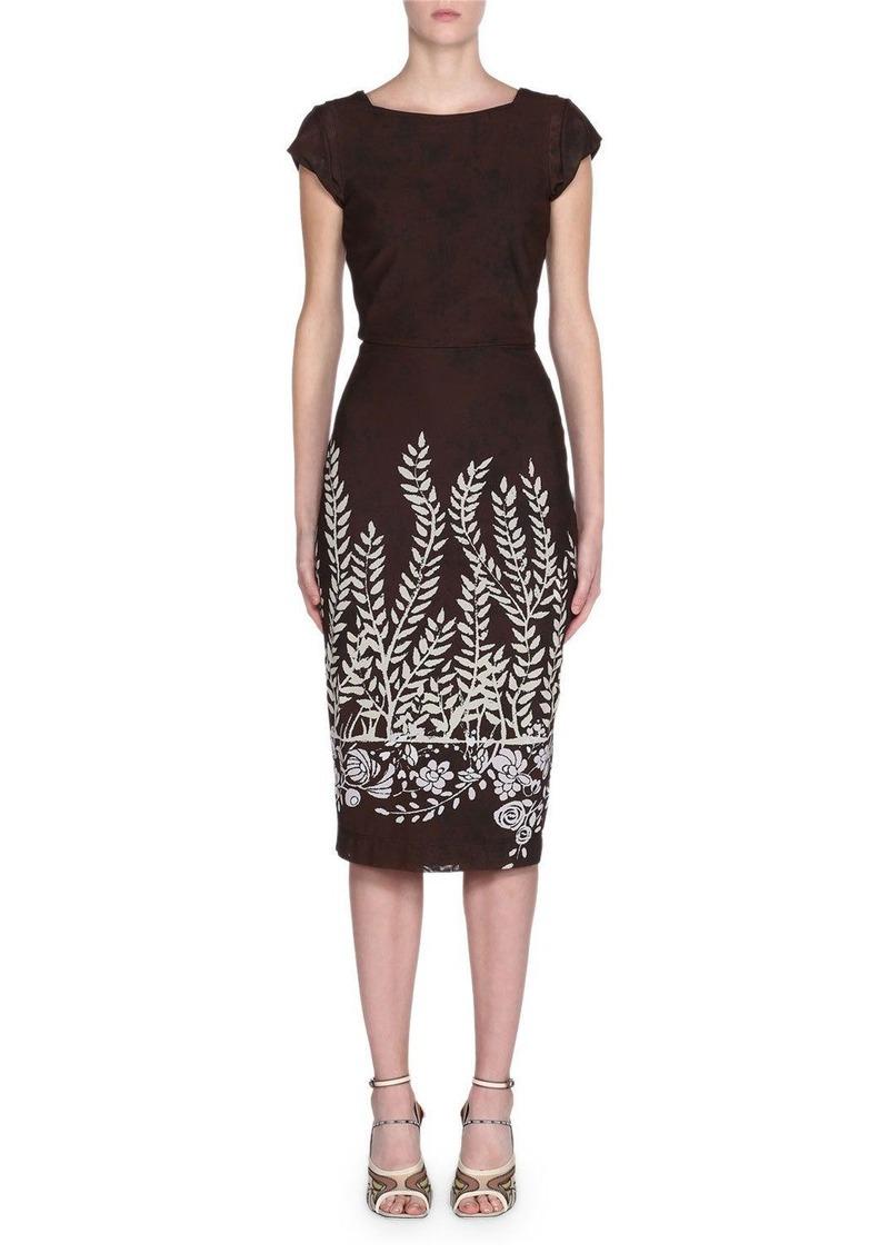Fendi Cap-Sleeve Leaf-Print Bodycon Dress