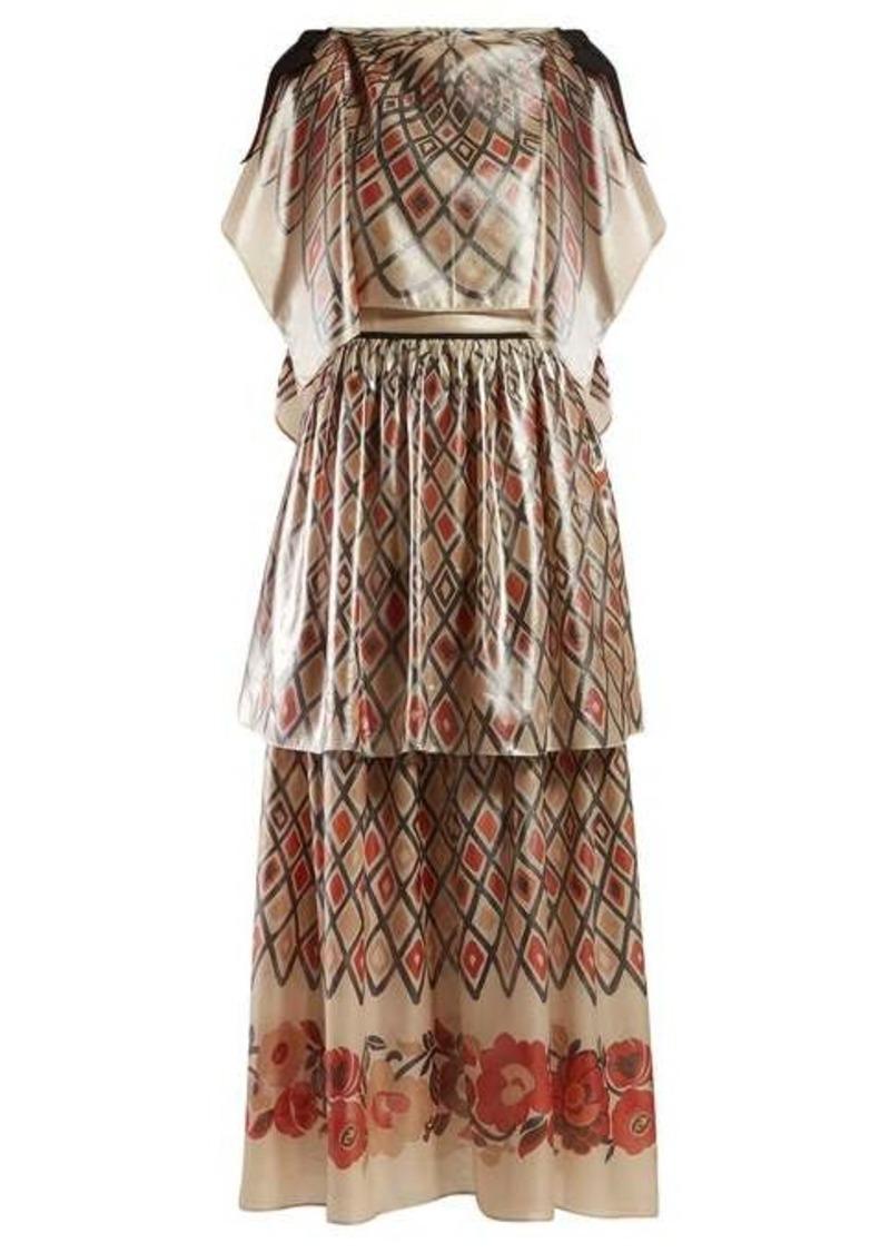 Fendi Caped diamond-print silk gown