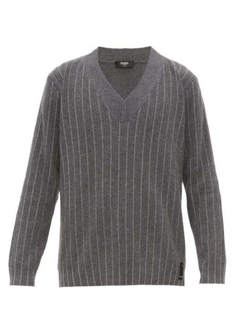 Fendi Chain-stripe V-neck cashmere sweater