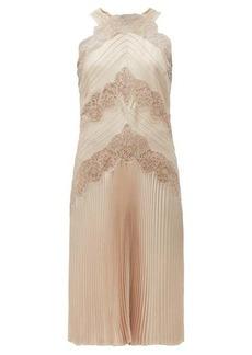 Fendi Chantilly-lace halterneck charmeuse dress