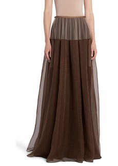 Fendi Check Silk & Tulle Maxi Skirt