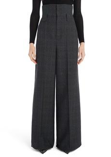 Fendi Check Wool High Waist Wide Leg Pants