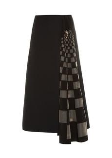Fendi Checked gazar-insert midi skirt