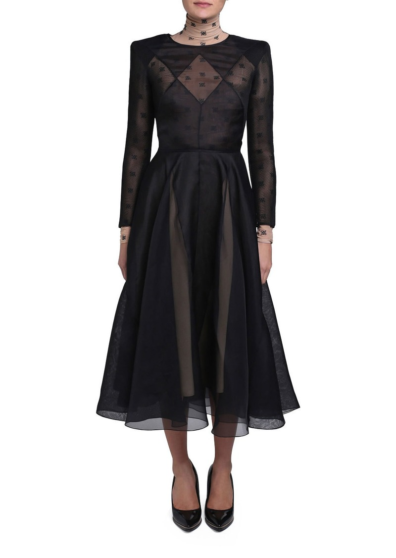 Fendi Chiffon Long-Sleeve Dress with Logo-Print Turtleneck Lining