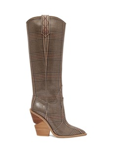 Fendi Coated Prince of Wales check knee-high boots