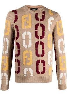 Fendi Code pattern crew-neck wool jumper