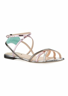 Fendi Colibri Metallic Strappy Flat Sandals