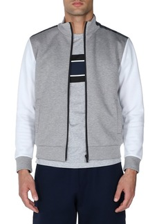 Fendi Colorblock Striped-Trim Zip-Front Sweater