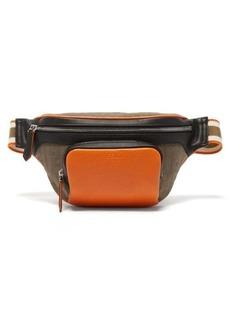 Fendi Colour-block leather and FF-canvas belt bag