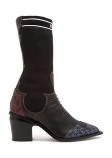 Fendi Contrast-panel leather boots