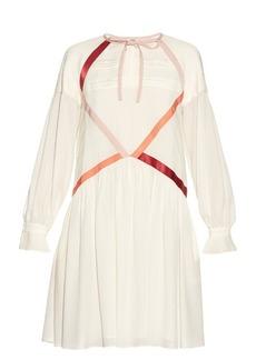 Fendi Contrast ribbon crepe de Chine dress