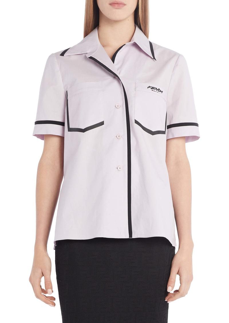 Fendi Contrast Trim Cotton Poplin Shirt