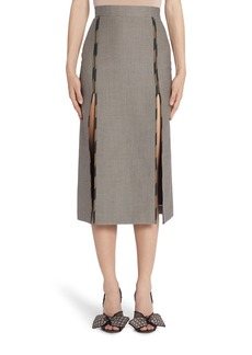 Fendi Contrast Trim Slit Detail Wool & Cotton Skirt