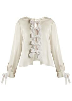 Fendi Crepe-back satin bow-tie blouse