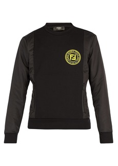Fendi Crew-neck logo-patch cotton-blend sweatshirt