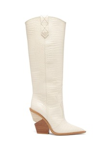 Fendi Crocodile-effect leather knee-high boots