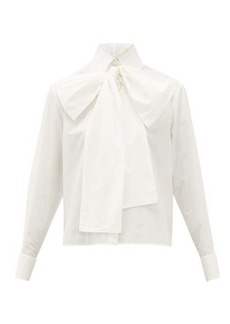 Fendi Cropped cotton-Oxford pussybow shirt