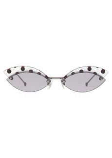 Fendi DeFender cat-eye metal sunglasses