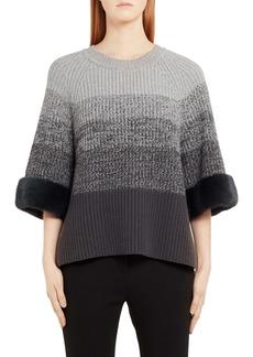 Fendi Degradé Wool & Cashmere Sweater with Genuine Mink Fur Cuffs