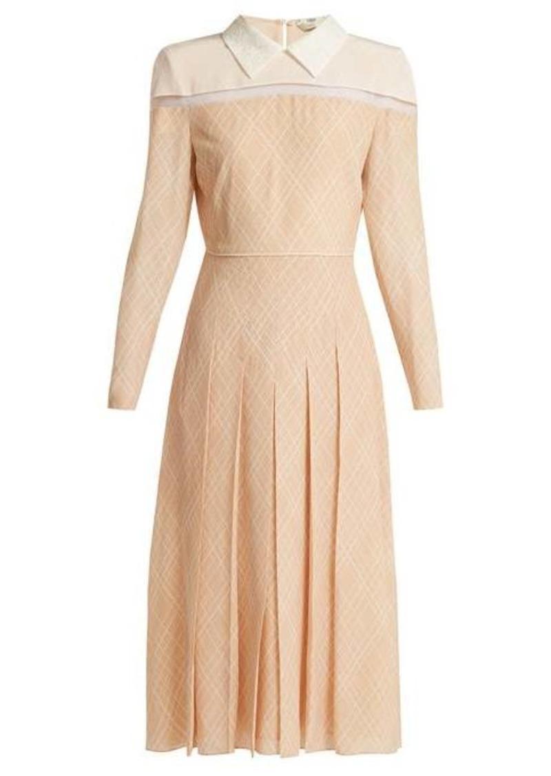 Fendi Detachable-collar pleated-silk midi dress