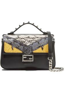 Fendi Double Baguette micro elaphe and crocodile-paneled leather shoulder bag