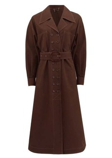 Fendi Double-breasted belted cotton trench coat