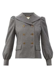 Fendi Double-breasted puff-sleeve brushed-wool jacket