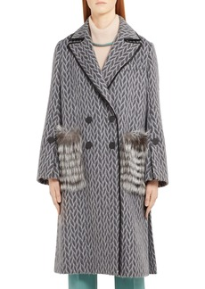 Fendi Double Breasted Wool & Alpaca Blend Coat with Genuine Fox Fur Pockets