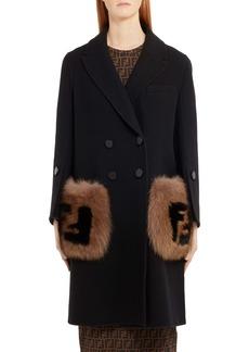 Fendi Double Breasted Wool Coat with Genuine Fox Fur Logo Pockets