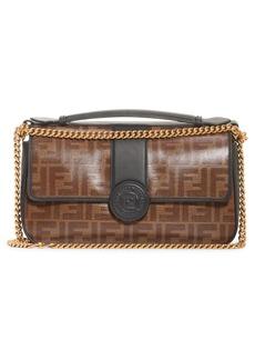 Fendi Double-F Leather & Canvas Shoulder Bag