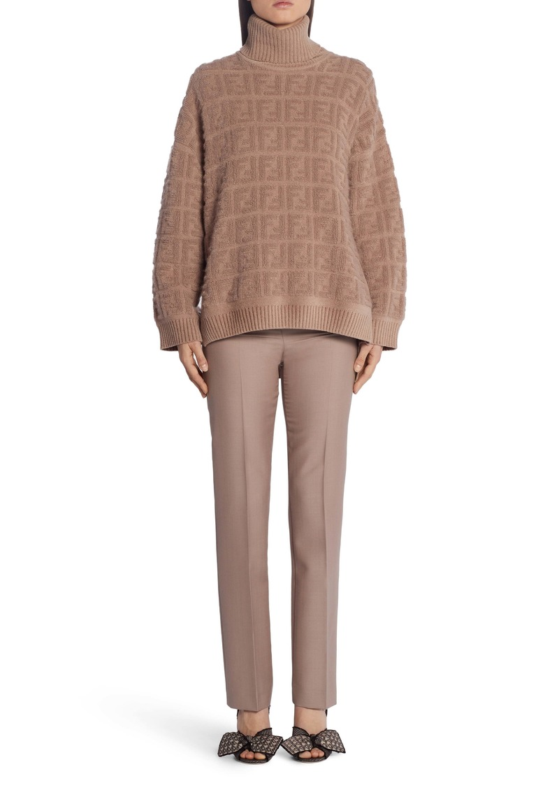 Fendi Double F Logo High/Low Turtleneck Sweater