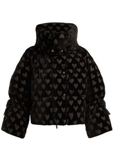 Fendi Down-filled heart-motif velvet jacket