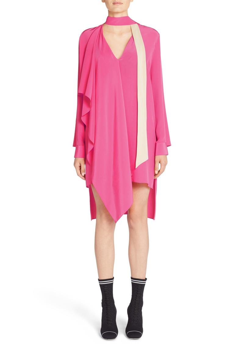 Fendi Drape Silk Crêpe de Chine Dress