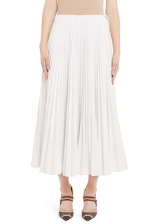 Fendi Drawcord Waist Pleated Midi Skirt